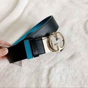 NWT Authentic Gucci Bi-color G Buckle Leather Belt